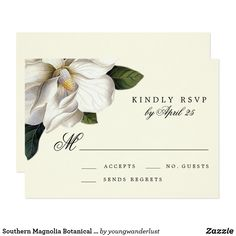 Southern Magnolia Botanical Wedding RSVP Card Ask your guests to RSVP for your wedding in an elegant, Southern-inspired fashion with these beautiful RSVP insert cards, featuring a vintage magnolia botanical motif. View the matching wedding suite in the Wander Paper Co store!