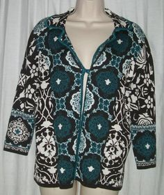 $22.99   Chico's Chicos Blue Black Floral Silk/Cotton Single Button Cardigan Sweater 1 M