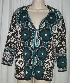 $22.99   Chico's Chicos Blue Black Floral Silk/Cotton Single Button Cardigan Sweater 1 M