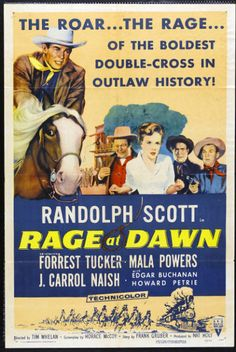 Randolph Scott, Edgar Buchanan, J. Carrol Naish, Mala Powers, and Forrest Tucker in Rage at Dawn Iconic Movie Posters, Movie Poster Art, Iconic Movies, New Poster, Film Posters, Old Movies, Classic Movies, Western Film, Western Movies