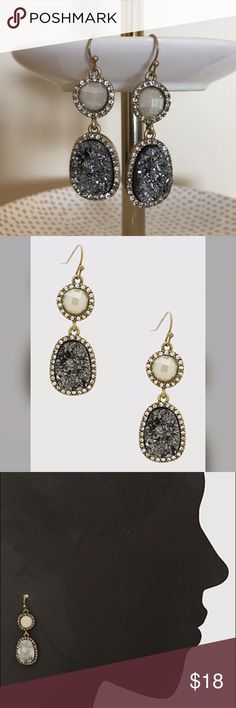 """Crystal Pave Druzy Earrings Brand New Crystal Pave Druzy Earrings. Nickel and lead free. Approx 2"""" length. Refer to pic 3 for sizing Bchic Jewelry Earrings"""