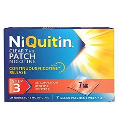 NIQUITIN Clear 7 mg Patch Step 3 - 7 Patches 32 Advantage card points. Stop smoking aid, delivers 7 mg of Nicotine in 24 hoursSee details below, always read the label Suitable for: Adults and children 12 years and over.Active Ingredient Nicotine http://www.MightGet.com/february-2017-1/niquitin-clear-7-mg-patch-step-3--7-patches.asp
