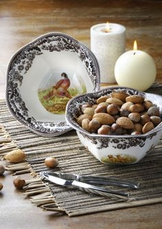 Serve nuts and snacks in the #Spode Woodland nut bowl.