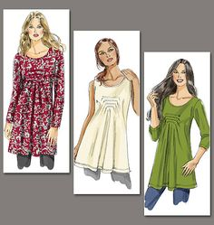 V8731 Very Easy Vogue Misses' Top and Tunic; For two-way stretch knits only (rayon lycra, nylon lycra, or cotton lycra)