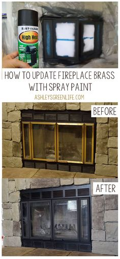 Ashley's Green Life: How to Update Fireplace Brass – Modern brick fireplace Brass Fireplace Makeover, Fireplace Doors, Fireplace Update, Black Fireplace, Fireplace Remodel, Fireplace Mantle, Fireplace Surrounds, How To Paint Fireplace, Painting A Fireplace