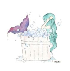 Mermaid Bathtub Art Prints – Green Hair Mermaid Bubble Bath in a Barrel - Artwork Prints Decor for Girls Bathroom, Artwork by Mermaid Julie