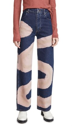May 2020 - Eckhaus Latta Wide Leg Jeans Diy Clothing, Custom Clothes, Diy Fashion, Fashion Outfits, Fashion Design, Fashion Prints, Jean Diy, Bleached Jeans, Painted Jeans