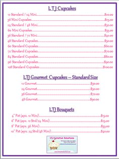 cupcake price list