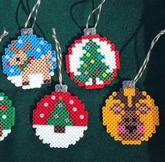 Perler Bead Ornaments Pattern, Easy Perler Bead Patterns, Perler Bead Templates, Perler Bead Art, Fuse Bead Patterns, Christmas Perler Beads, Beaded Christmas Ornaments, Christmas Tree, Fusion Beads