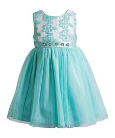 Love this Mint & White Flower Rhinestone Dress - Toddler by Youngland on #zulily! #zulilyfinds