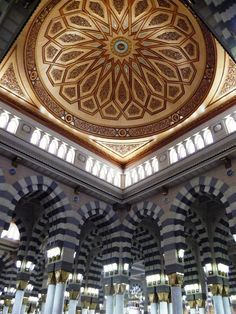 Internal view of a dome in #MasjidAlNabwi #ProphetMosque #Madinah