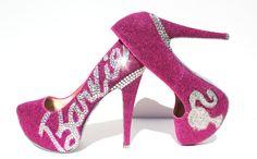 Barbie Heels with Swarovski Crystals on Pink by WickedAddiction
