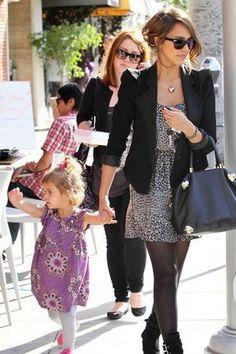 love Jessica Alba's style! Polkadot dress with a blazer and tights.
