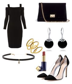 """""""black"""" by deeners ❤ liked on Polyvore featuring Elie Tahari, Gianvito Rossi, Rodo, Bling Jewelry, Carbon & Hyde, Freida Rothman and Estée Lauder"""