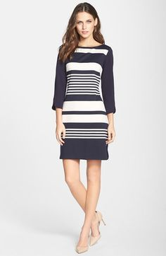 navy white stripe ponte a-line dress