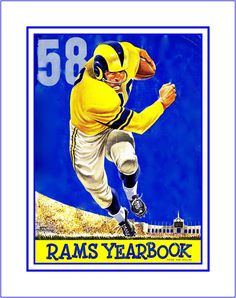 "LA Rams 1958 Yearbook Cover Art Poster, NFL Football Fan Wall Art Gift, Retro Sports Bar Art Print, Dad Wall Decor, 8x10"", 11x14"", Free Ship by ArleyArt on Etsy"