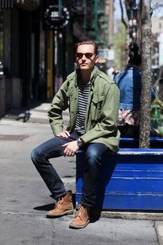 25 Stylish Hot Guys In Stripes -- Street Style -- Green Jacket, Jeans and Boots -- Mens Style -- Via Details Magazine photo 12-25-Stylish-Hot-Guys-In-Stripes-Street-Style-Green-Jacket-Jeans-Boots-Mens-Style-Via-Details-Magazine.jpg