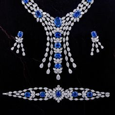 Jewellery | Chatila Diamond & Sapphire Necklace, Earrings & Bracelet
