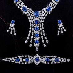 Jewellery   Chatila Diamond & Sapphire Necklace, Earrings & Bracelet
