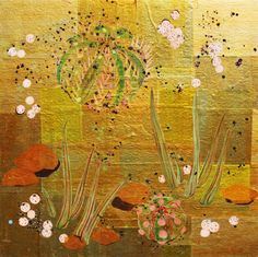 "Floating Cactus, 24""x24"", mixed media on gold paper on panel Alexandra Gjurasic  www.alexandragjurasic.com"