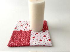 Heart Hot Pad Red Heart Trivet Red Mug Rug Flower by 2Fun4Words