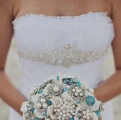 Deposit on Tiffany blue brooch wedding bridal bouquet --made to order bridal bouquet. $165.00, via Etsy.