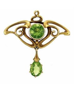 Art Nouveau Gold and Peridot Pin - c. 1900.