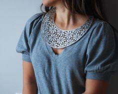 Stunning Silvery Lace Leather Bib Collar
