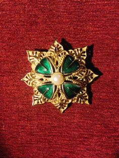 Vintage Monet Classic Brooch Large Gold Eight Point Star Pearl Green Enameling by SimplyMarvelousMary on Etsy