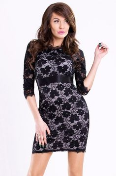 Covered with lace dress with long sleeves