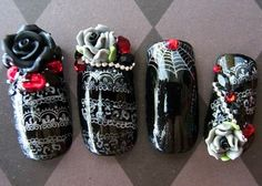 Goth lolita nails. Gorgeous. Not Gothic but cool for like halloween
