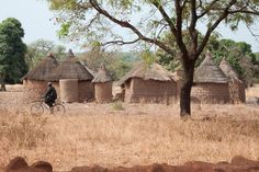 Rural mud huts and grain stores in south west Burkina Faso