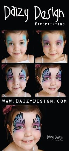 When you think about face painting designs, you probably think about simple kids face painting designs. Many people do not realize that face painting designs go Mime Face Paint, Girl Face Painting, Body Painting, Face Paintings, Face Painting Tutorials, Face Painting Designs, Painting Tips, Butterfly Face Paint, Butterfly Makeup