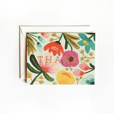 Gold Floral Thank You Card 8Pk by Rifle Paper Co.
