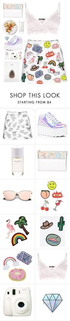 """H O L O G R A P H I C  H E A R T S /: elf"" by polyvoregallery ❤ liked on Polyvore featuring Topshop, Y.R.U., Roads, ban.do, Eye Candy, 3x1, Madewell, Boohoo, Fuji and Unicorn Lashes"