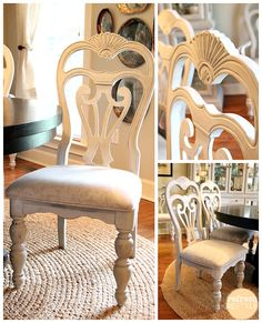 DIY Home Decor Inspiration : Illustration Description How to spray paint your dining chairs with chalk based paint. -Read More – Decor, Home Diy, Furniture Diy, Painted Dining Chairs, Furniture Makeover, Painted Furniture, Furniture Fix, Home Decor, Shabby Chic Furniture