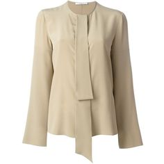 Givenchy pussy bow blouse Papini ($560) ❤ liked on Polyvore featuring tops, blouses, brown tops, brown blouse, givenchy, bow collar blouse and bow neck blouse