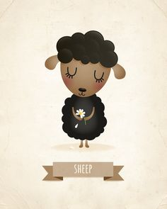 Sheep art print nursery decor nursery by IreneGoughPrints on Etsy