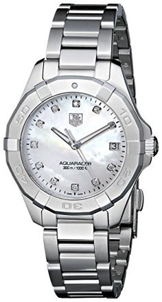 Now in stock TAG Heuer Women's WAY1313.BA0915 Aquaracer Diamond-Accented Stainless Steel Watch