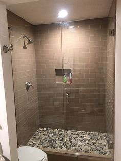 Inline frameless shower with door and stationary panel, BM style handle in Brushed Nickel finish Nickel Finish, Brushed Nickel, Frameless Shower Enclosures, Inline, Bathroom Ideas, Stationary, Toilet, Minimalism, Sink