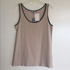 H&M tank top Beige color with black trip tank top from H&M. Size M, true to size. Brand new, never worn, tags still attached. H&M Tops Tank Tops