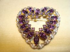 1930s amethyst and rhinestone heart by Jay Flex.