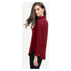 Burgundy Curved Hem Pocket Shirt (18 AUD) ❤ liked on Polyvore featuring tops, red top, pocket shirts, pocket tops, shirt top and round hem shirt
