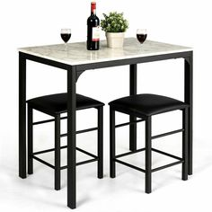 Beautiful Dining Set 3 Piece Counter Height Faux Marble Table 2 Chairs Kitchen Bar Set Dining Furniture Sets from top store Dining Table Set Designs, Rectangle Dining Table, Counter Height Dining Sets, Design Table, Small Tables, Kitchen Chairs, Dining Table Chairs, Dining Room, Room Kitchen