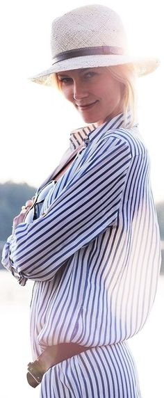 Adlinks White And Blue Long Line Striped Shirt Dress