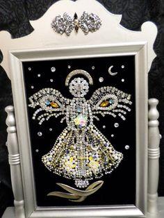 Vintage Rhinestone Jewelry Christmas Tree Angel swing frame BLACK FRIDAY SALE! #CostumeJewelry