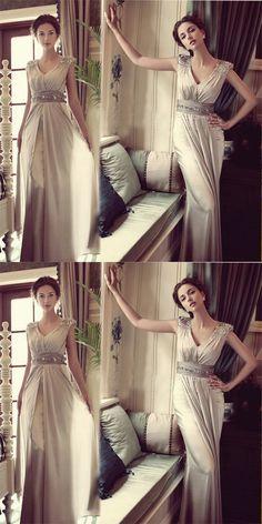 Sweetheart A-Line V-Neck Gray Chiffon Sequins Long Bridesmaid Dresses,Wedding Party Dresses,WGY0184 #bridesmaid dress#
