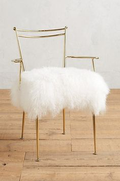Anthropologie Shag Puff Dressing Chair, Home Accessories, Mongolian fur upholstery. Dressing Chair, Dressing Room, Glam Room, Home Living, Living Room, Living Area, Take A Seat, Decoration Table, Gold Decorations