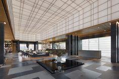 方磊新作丨丨万科 未来之光售楼处-商业展厅-室内设计联盟 - Powered by Discuz! Hotel Lobby Design, Lobby Interior, Interior Design, Office Entrance, Lobby Lounge, Public, Lounge Areas, Ceiling Design, Model Homes