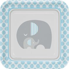 Elephant Party Plates - Elephant Baby Shower, Elephant Birthday, Blue and Grey Elephant, Elephant Elephant First Birthday, Elephant Party, Baby Shower Plates, Baby Boy Shower, Baby Showers, Party Plates, Dinner Plates, Party Tableware, Kawaii